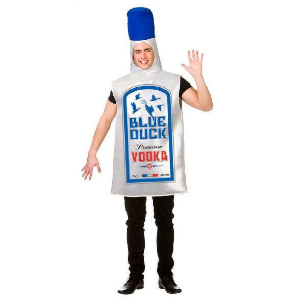Adults Blue Duck Vodka Costume for Daffy Donald Edd Fancy Dress